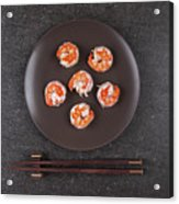 Roasted Shrimps Served On Plate Acrylic Print
