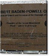Robert Baden-powell Plaque Acrylic Print