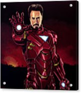 Robert Downey Jr. As Iron Man  Acrylic Print