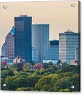 Rochester Ny Skyline At Dusk Acrylic Print