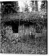 Rock Cabin Black And White Acrylic Print