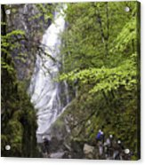 Rock Climbers At Graymare's Tail Falls Acrylic Print