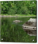Rock Reflection In The River Acrylic Print