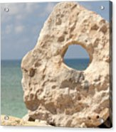 Rock With A Hole With A Tropical Ocean In The Background. Acrylic Print