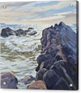 Rocks At Widemouth Bay, Cornwall Acrylic Print