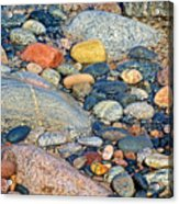 Rocks Of Many Colors On Lake Superior Shoreline In Pictured Rocks National  Acrylic Print