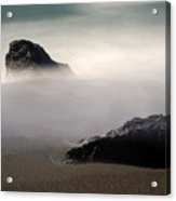 Rocks On Black Sand Beach Acrylic Print