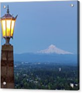 Rocky Butte Viewpoint With Mount Hood During Evening Blue Hour Acrylic Print