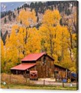 Rocky Mountain Autumn Ranch Landscape Acrylic Print