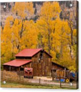 Rocky Mountain Barn Autumn View Acrylic Print