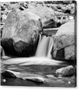 Rocky Mountain Canyon Waterfall In Black And White Acrylic Print