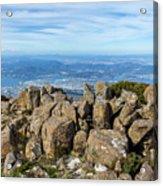 Rocky Mountain Summit Overlooking Beautiful Vally Acrylic Print