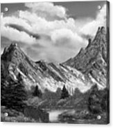 Rocky Mountain Tranquil Escape In Black And White Acrylic Print