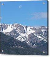 Rocky Mountain Waning Gibbous Moon Set Acrylic Print