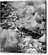 Rocky Mountains In Colorado With Snow Aerial Black And White Acrylic Print