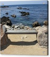 Rocky Seaside Bench Acrylic Print