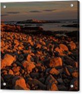 Rocky Shoreline And Islands At Sunset Acrylic Print