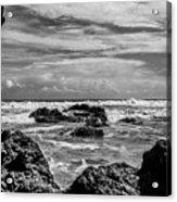 Rocky Waters In Bw Acrylic Print