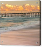 Rodanthe Fishing Pier Sunset On The Outer Banks In Carolina Panorama Acrylic Print