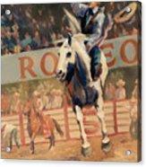 Rodeo   Bareback Bronc Painting Acrylic Print