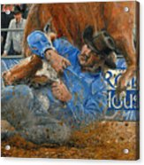 Rodeo Houston --steer Wrestling Acrylic Print