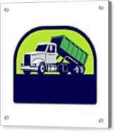 Roll-off Truck Side Up Half Circle Retro Acrylic Print