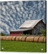 Rolled Up - Hay Rolls And Barn Acrylic Print