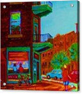 Rollerblading  Past The Cafe Acrylic Print