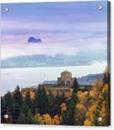 Rolling Fog At Columbia River Gorge In Fall Acrylic Print