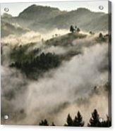 Rolling Fog At Sunrise In The Skofjelosko Hribovje Hills With St Acrylic Print