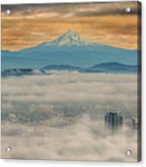 Rolling Low Fog Over City Of Portland Acrylic Print
