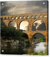 Roman Pont Du Gard Acrylic Print by Melvin Kearney