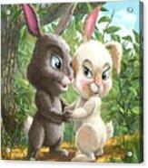 Romantic Cute Rabbits Acrylic Print