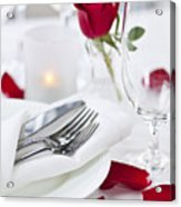 Romantic Dinner Setting With Rose Petals Acrylic Print