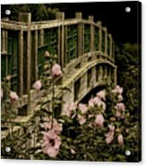 Romantic Garden And Bridge Acrylic Print