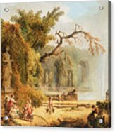 Romantic Garden Scene Acrylic Print by Hubert Robert