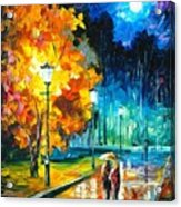 Romantic Night 2 - Palette Knife Oil Painting On Canvas By Leonid Afremov Acrylic Print