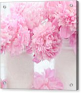 Shabby Chic Pastel Pink Peonies - Pink Peonies In White Mason Jars Acrylic Print