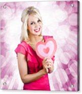 Romantic Woman With Heart Shape Valentine Card Acrylic Print