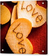 Romantic Wooden Hearts Acrylic Print