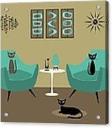 Room With Dark Aqua Chairs 2 Acrylic Print