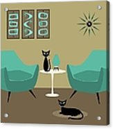 Room With Dark Aqua Chairs Acrylic Print