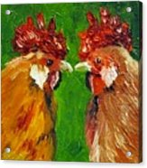 Rooster Face Off Acrylic Print