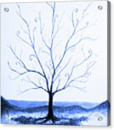 Roots Of A Tree In Blue Acrylic Print