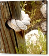 Rope In A Post Acrylic Print