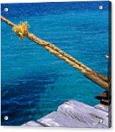 Rope On Mooring Post Acrylic Print by Sami Sarkis