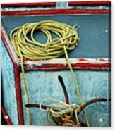 Ropes And Rusty Anchors On A Boat Deck Acrylic Print