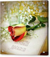 Rose And Bottle Acrylic Print
