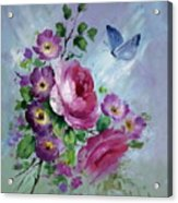 Rose And Butterfly Acrylic Print