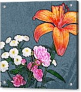 Rose Baby Breath And Lilly Acrylic Print